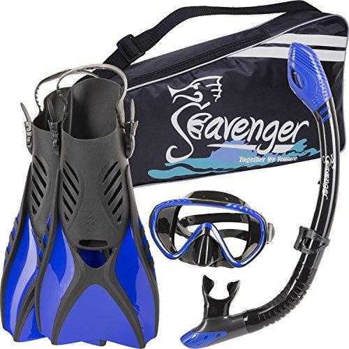 シュノーケリング マリンスポーツ SV-SET6-BS-B-S Seavenger Diving Snorkel Set - (Black Silicon/Blue) - Sシュノーケリング マリンスポーツ SV-SET6-BS-B-S