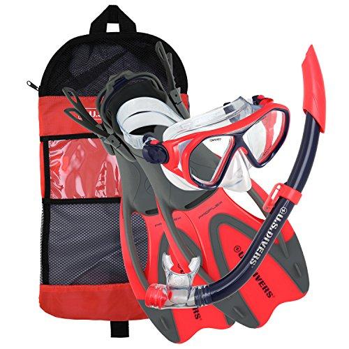 シュノーケリング マリンスポーツ 281096 U.S. Divers 281096 Dorado II Jr Mask Sea breeze Snorkel Proflex Fins Set,Red/Black, Smallシュノーケリング マリンスポーツ 281096