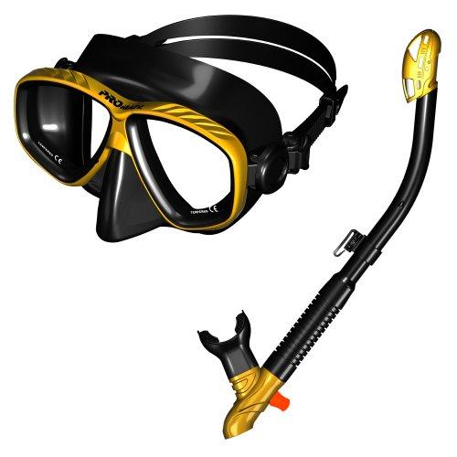 シュノーケリング マリンスポーツ 【送料無料】285890-GDBK, Snorkeling Purge Mask and Dry Snorkel Combo Set, Golden Blackシュノーケリング マリンスポーツ