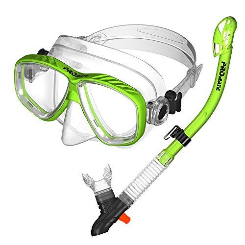シュノーケリング マリンスポーツ Promate 7590, Green, Snorkeling Scuba Dive DRY Snorkel Mask Gear Setシュノーケリング マリンスポーツ