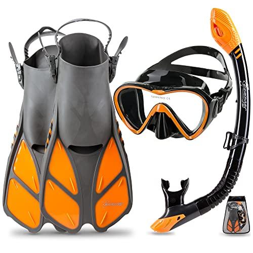 シュノーケリング マリンスポーツ 【送料無料】Seavenger Diving Dry Top Snorkel Set with Trek Fin, Single Lens Mask and Gear Bag, S/M - Size 4.5 to 8.5, Gray/Black Silicon/Orangeシュノーケリング マリンスポーツ