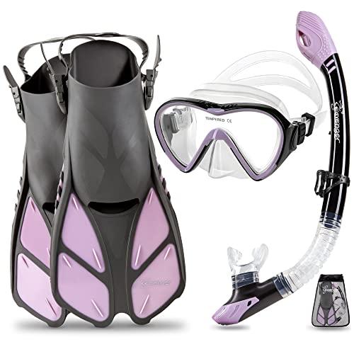 シュノーケリング マリンスポーツ 夏のアクティビティ特集 Seavenger Diving Dry Top Snorkel Set with Trek Fin, Single Lens Mask and Gear Bag, XS/XXS - Size 1 to 4 or Children 10-13, Gray/Lavenderシュノーケリング マリンスポーツ 夏のアクティビティ特集