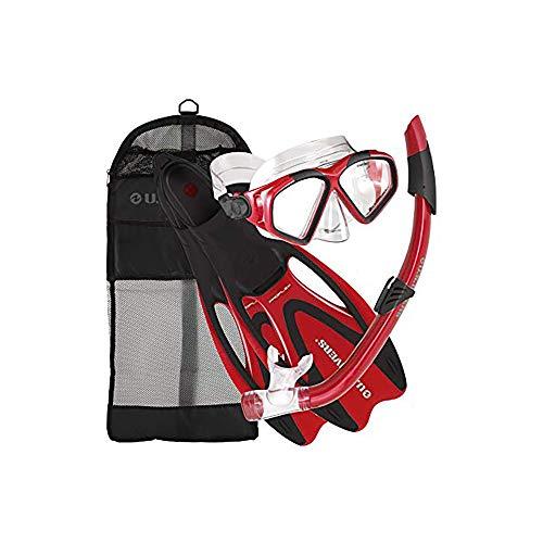 シュノーケリング マリンスポーツ 241285 【送料無料】U.S. Divers Cozumel Seabreeze Adult Snorkeling Combo Set with Adjustable Mask, Snorkel, Medium Fins (6.5-8), and Travel Bag, Redシュノーケリング マリンスポーツ 241285