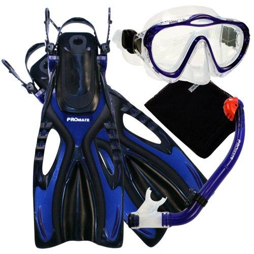 シュノーケリング マリンスポーツ Promate 4570, bu, sm, Junior Snorkeling Scuba Diving Mask DRY Snorkel Fins Set for kidsシュノーケリング マリンスポーツ