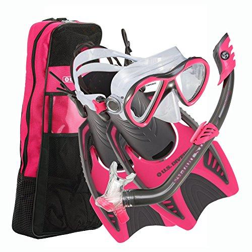 シュノーケリング マリンスポーツ 261244 U.S. Divers Youth Flare Junior Silicone Snorkeling Set, Neon Black, Small (1-3)シュノーケリング マリンスポーツ 261244