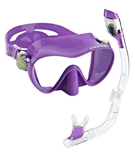 シュノーケリング マリンスポーツ 【送料無料】Cressi Junior Frameless Mask Dry Snorkel Set (Lilac)シュノーケリング マリンスポーツ