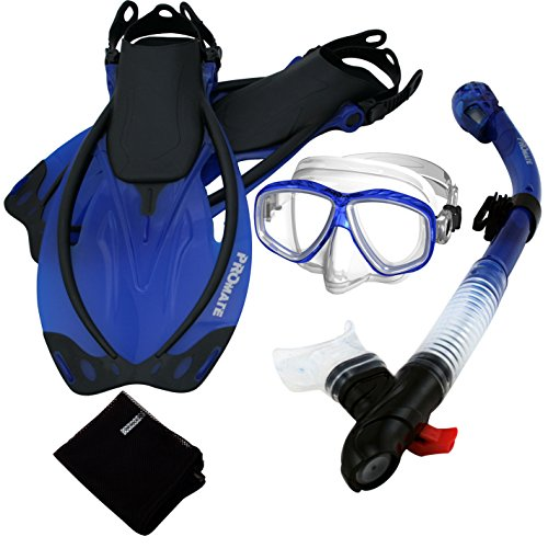 シュノーケリング マリンスポーツ 【送料無料】285890-t.Blue-MLXL, Snorkeling Purge Mask Dry Snorkel Fins Mesh Bag Setシュノーケリング マリンスポーツ