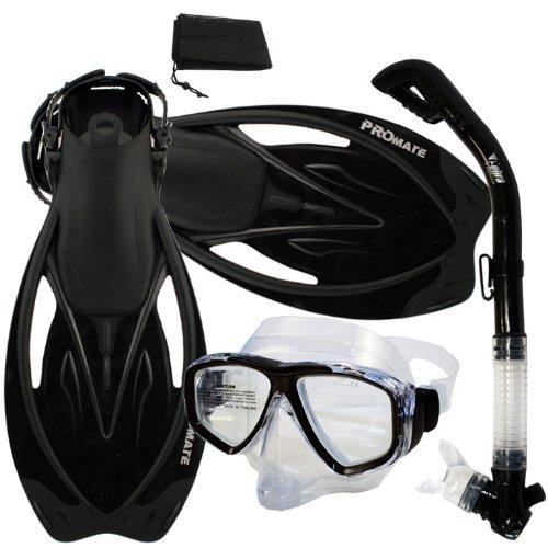 シュノーケリング マリンスポーツ Promate Snorkeling Scuba Dive DRY Snorkel PURGE Mask Fins Gear Set, Black, ML/XLシュノーケリング マリンスポーツ