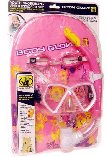 シュノーケリング マリンスポーツ Body Glove Youth Snorkeling,Mask and KickBoard (5 Pieces Set) (Pink)シュノーケリング マリンスポーツ