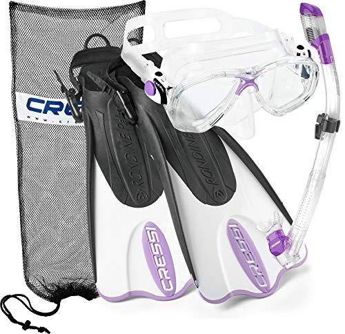 シュノーケリング マリンスポーツ CRSPSFSS-PR-ML Cressi Palau Mask Fin Snorkel Set with Snorkeling Gear Bag, Lilac, M/L | (Men's 7-10) (Women's 8-11)シュノーケリング マリンスポーツ CRSPSFSS-PR-ML
