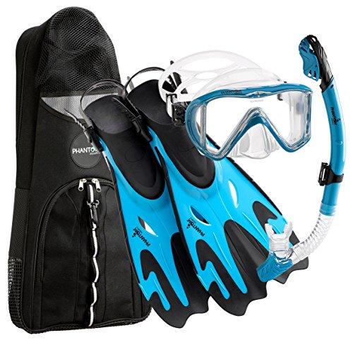 シュノーケリング マリンスポーツ Phantom Aquatics Legendary Mask Fin Snorkel Set with Mesh Bag, Aqua, Small/Medium (5-8)シュノーケリング マリンスポーツ