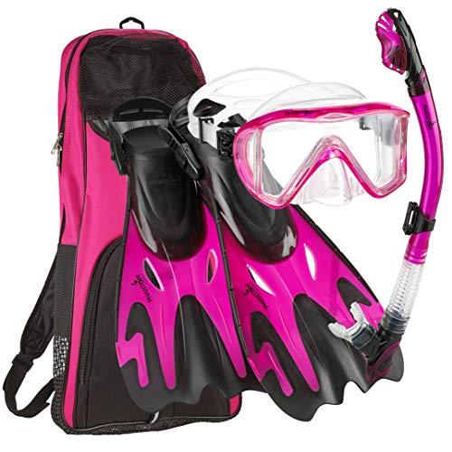 シュノーケリング マリンスポーツ Phantom Aquatics Legendary Mask Fin Snorkel Set with Mesh Bag, Pink, Medium/Large (9-12)シュノーケリング マリンスポーツ