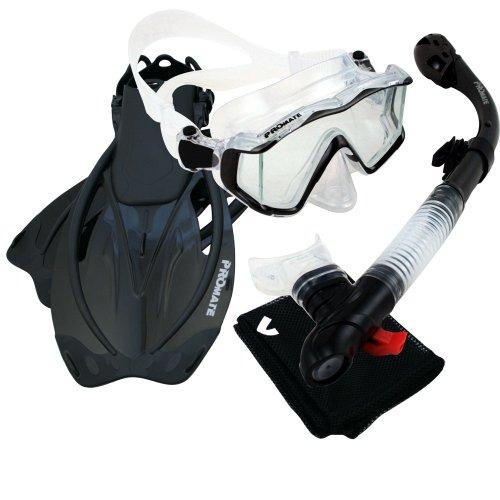 シュノーケリング マリンスポーツ Promate 9990, Trans. Black, ML/XL, Snorkeling Scuba Dive Panoramic PURGE Mask Dry Snorkel Fins Gear Setシュノーケリング マリンスポーツ