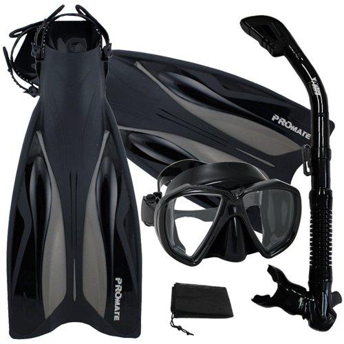 シュノーケリング マリンスポーツ 【送料無料】Promate Deluxe Snorkeling Gear Scuba Diving Fins Mask Dry Snorkel Set, AllBlack, SMシュノーケリング マリンスポーツ