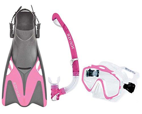 シュノーケリング マリンスポーツ 12802SET-XL/XXLPINK Body Glove Women's EXO Mask and Snorkel Fins Combo Set, Pink, X-Large/XX-Largeシュノーケリング マリンスポーツ 12802SET-XL/XXLPINK