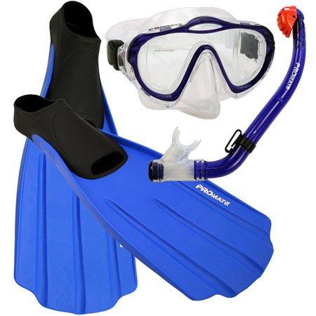 シュノーケリング マリンスポーツ Promate Junior Snorkeling Scuba Diving PURGE Mask DRY Snorkel FULL FOOT Fins Set for kids, Blue, XS (Shoe: 3-5)シュノーケリング マリンスポーツ
