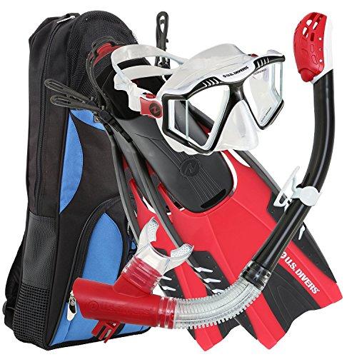 シュノーケリング マリンスポーツ 253620 U.S. Divers Lux Platinum Snorkel Set Compatible with GoPro - Panoramic View Mask, Pivot Fins, Dry Top Snorkel + Gear Bag, Black and Red L/LXシュノーケリング マリンスポーツ 253620