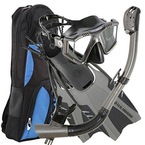 シュノーケリング マリンスポーツ 253618 U.S. Divers Lux Platinum Snorkeling Set - Panoramic View Mask, Pivot Fins, GoPro Ready Dry Top Snorkel + Gear Bag, Gun Metal L/LXシュノーケリング マリンスポーツ 253618