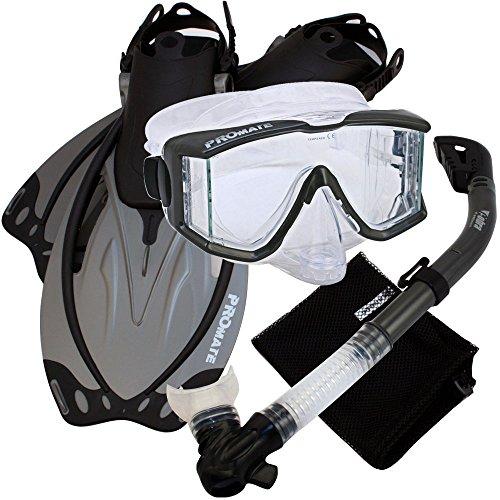 シュノーケリング マリンスポーツ Promate Snorkeling Scuba Dive Panoramic Purge Mask Dry Snorkel Fins Gear Set, Ti, SMシュノーケリング マリンスポーツ