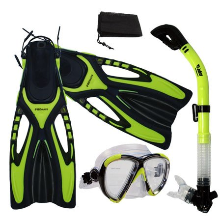 シュノーケリング マリンスポーツ 【送料無料】Promate Snorkeling Scuba Dive Fins Mask Snorkel Set w/Mesh Bag, Yellow, S/Mシュノーケリング マリンスポーツ