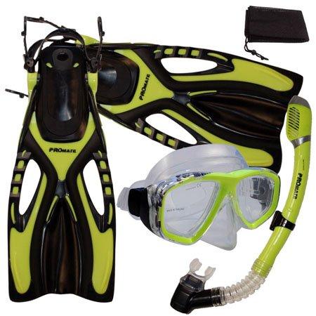 シュノーケリング マリンスポーツ 【送料無料】PROMATE Snorkeling Scuba Diving Mask Snorkel Fins Gear Set w/ Mesh Bag, Yellow, ML/XL(9-13)シュノーケリング マリンスポーツ