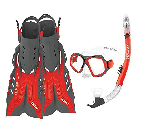 シュノーケリング マリンスポーツ 17039PSET-L/XL-REDGRY 【送料無料】Body Glove Aquatic Fiji Mask Snorkel and Fins Set, Large/X-Large, Red/Greyシュノーケリング マリンスポーツ 17039PSET-L/XL-REDGRY