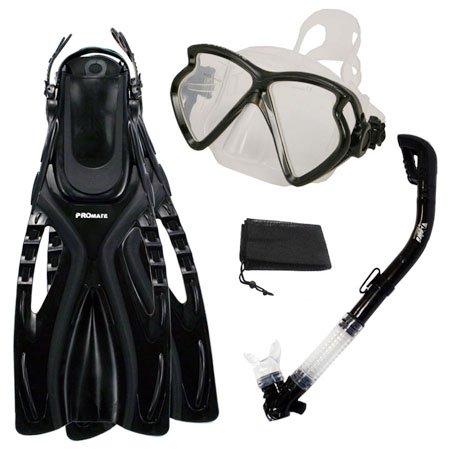 シュノーケリング マリンスポーツ PROMATE Snorkeling Fins Matrix Mask Dry Snorkel Set, Black, S/Mシュノーケリング マリンスポーツ