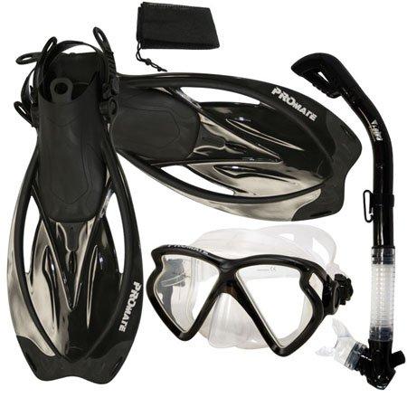 シュノーケリング マリンスポーツ PROMATE Snorkeling Matrix Mask Dry Snorkel Fins Mesh Bag Set, Black, S/Mシュノーケリング マリンスポーツ