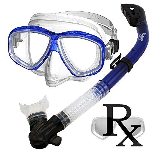 シュノーケリング マリンスポーツ 夏のアクティビティ特集 Prescription Purge Mask Dry Snorkel Snorkeling Scuba Diving Combo Set, TBlueシュノーケリング マリンスポーツ 夏のアクティビティ特集