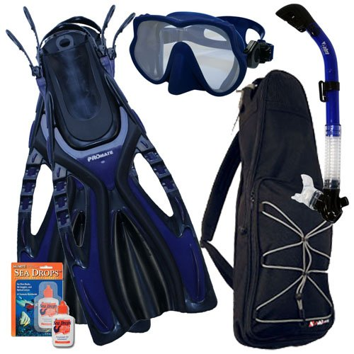 シュノーケリング マリンスポーツ Promate Snorkeling Scuba Dive Frameless Mask Fins Dry Snorkel Gear bag Set, Blue, ML/XL(9-13)シュノーケリング マリンスポーツ