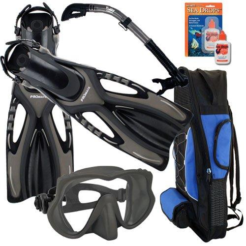 シュノーケリング マリンスポーツ Promate Snorkeling Scuba Dive Frameless Mask Fins Dry Snorkel Gear bag Set, Ti/Bk, S/M(5-8)シュノーケリング マリンスポーツ