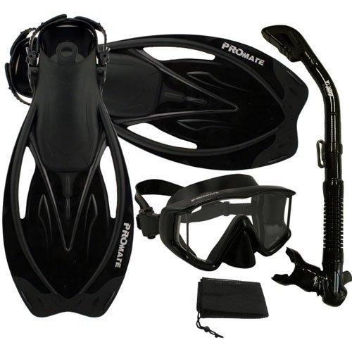 シュノーケリング マリンスポーツ Promate Snorkeling Panoramic Mask Dry Snorkel Scuba Dive Fins Set, AllBlack, ML/XLシュノーケリング マリンスポーツ