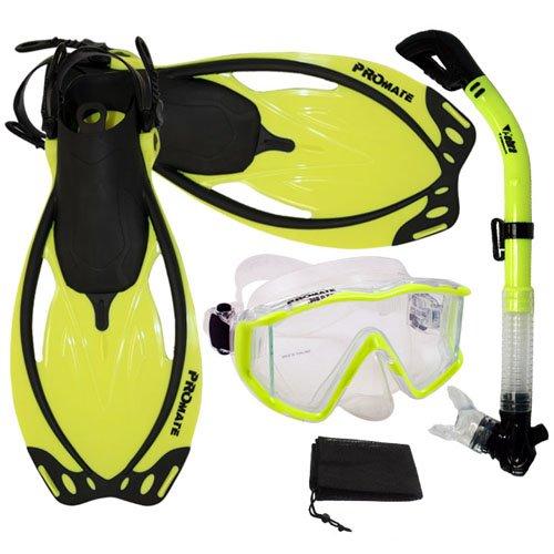 シュノーケリング マリンスポーツ Promate Snorkeling Panoramic Mask Dry Snorkel Scuba Dive Fins Set, nYellow, S/Mシュノーケリング マリンスポーツ