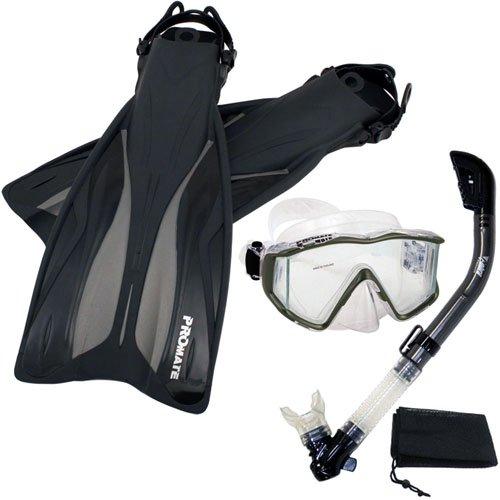 シュノーケリング マリンスポーツ Promate Deluxe Snorkeling Panoramic Mask Dry Snorkel Scuba Dive Fins Set, Titanium, ML/XLシュノーケリング マリンスポーツ