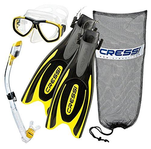 シュノーケリング マリンスポーツ CRSFPFSS-CYL-ML 【送料無料】Cressi Frog Plus Fin Focus Silicone Mask Dry Snorkel Set, Clear Yellow, Medium/Large/Men's 8-10/Women's 10-12シュノーケリング マリンスポーツ CRSFPFSS-CYL-ML