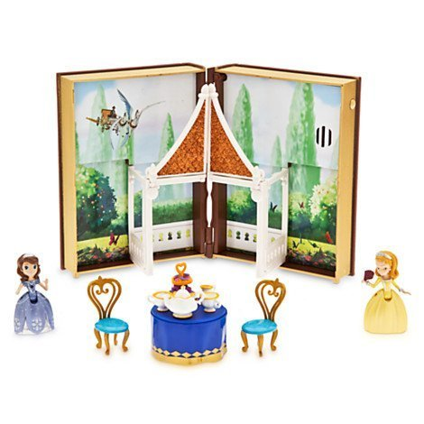 ちいさなプリンセス ソフィア ディズニージュニア Disney Sofia Tea Garden Book Play Set with Book Case Sofia Figure, Amber Figure Tray with Tea Pot, Two Cups, Milk Jug, Cake Stand, Two Chairs, Table, and Prちいさなプリンセス ソフィア ディズニージュニア