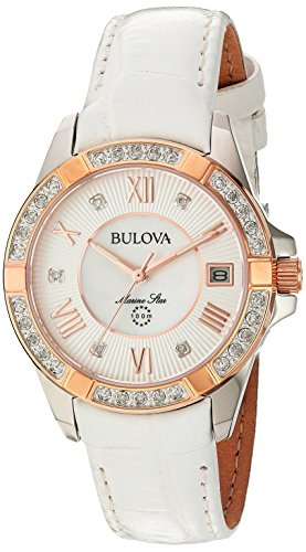 ブローバ 腕時計 レディース 98R233 【送料無料】Bulova Women's Stainless Steel Analog-Quartz Watch with Leather-Crocodile Strap, White, 16 (Model: 98R233)ブローバ 腕時計 レディース 98R233