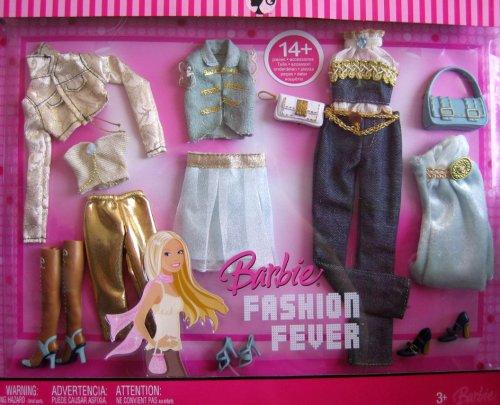 バービー バービー人形 着せ替え 衣装 ドレス K8494 BARBIE Fashion Fever FASHIONS 14+ Pieces GOLD & BLUE Tone FASHION OUTFITS (2007)バービー バービー人形 着せ替え 衣装 ドレス K8494