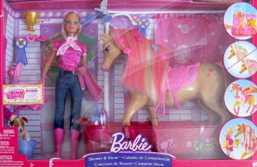 バービー バービー人形 日本未発売 プレイセット アクセサリ Barbie SHOWER & SHOW Playset w HORSE (Head NODS), BARBIE DOLL & More (2008)バービー バービー人形 日本未発売 プレイセット アクセサリ
