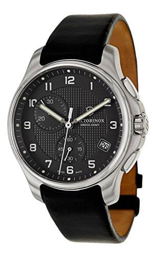 腕時計 ビクトリノックス スイス メンズ 241552 【送料無料】Victorinox Swiss Army Black Dial SS Leather Chrono quartz Men's Watch 241552腕時計 ビクトリノックス スイス メンズ 241552