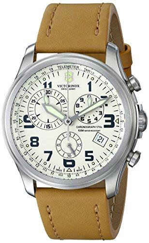 """ビクトリノックス スイス 腕時計 メンズ 241579 【送料無料】Victorinox Men""""s 241579 """"""""Infantry"""""""" Stainless Steel Watch with Beige Leather Bandビクトリノックス スイス 腕時計 メンズ 241579"""