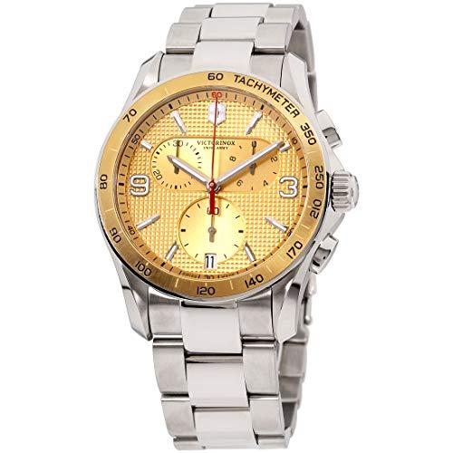 ビクトリノックス スイス 腕時計 メンズ 241658 Victorinox Chrono Classic Champagne Dial Steel Bracelet Mens Watch 241658ビクトリノックス スイス 腕時計 メンズ 241658