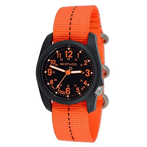 ベルトゥッチ 逆輸入 海外モデル 海外限定 アメリカ直輸入 11042 Bertucci 11042 DX3 Field Resin Dash-Striped Drab Orange Nylon Strap Black Dial Watchベルトゥッチ 逆輸入 海外モデル 海外限定 アメリカ直輸入 11042