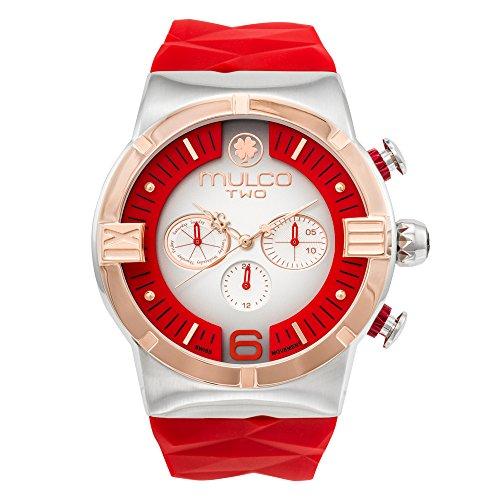 マルコ 腕時計 メンズ MW5-4273-015 Mulco Two Dome Swiss Quartz Chronograph Movement Watch | Premium Sundial Display with Rose Gold Accents | Silicone Watch Band | Water Resistant Stainless Steel Watch (Red)マルコ 腕時計 メンズ MW5-4273-015