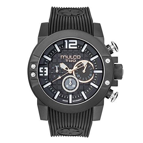 マルコ 腕時計 メンズ MW5-4271-025 Mulco M10 104 Swiss Quartz Chronograph Movement Men's Watch   Premium Analog Display with Rose Gold Accents   Silicone Watch Band   Water Resistant Stainless Steel Watch (Black)マルコ 腕時計 メンズ MW5-4271-025
