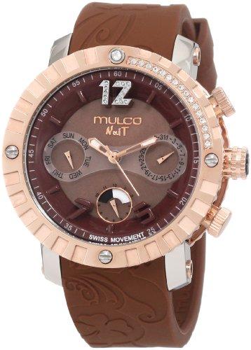 マルコ 腕時計 レディース MW5-1622-033 【送料無料】Mulco NUIT Swiss Chronograph Stainless Steel Watch - Multifunctional 100% Silicone Band (Brown)マルコ 腕時計 レディース MW5-1622-033