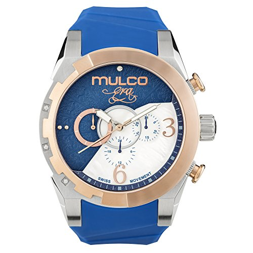 マルコ 腕時計 レディース 【送料無料】Mulco Era Bella Quartz Swiss Chronograph Movement Women's Watch | Mother of Pearl Sundial with Swarovski Accents | Silicone Watch Band | Water Resistant Stainless Steel (Blue)マルコ 腕時計 レディース