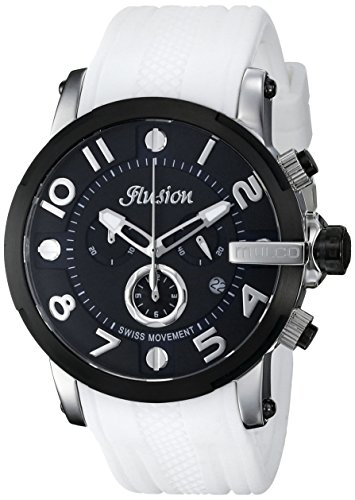 マルコ 腕時計 メンズ MW3-12239-015 【送料無料】MULCO Unisex Ilusion Roll Analog Display Swiss Quartz Watch - Multifunctional 100% Silicone Band Stainless Steel (White/Black)マルコ 腕時計 メンズ MW3-12239-015