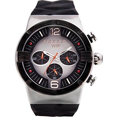 マルコ 腕時計 メンズ MW5-3685-025 【送料無料】Mulco M10 Dome Gents Collection Watch - Premium Analog Display - 100% Silicone Band Watch - Chronograph - Water Resistant - Stainless Steel Fashion (Black/Silver/Orマルコ 腕時計 メンズ MW5-3685-025