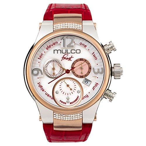 マルコ 腕時計 レディース MW5-2601-163 【送料無料】Mulco Frost Ladies Quartz Swiss Chronograph Movement Women's Watch | Mother of Pearl and Swarovski Sundial with Rose Gold and Swarovski Accents | Red Watch マルコ 腕時計 レディース MW5-2601-163